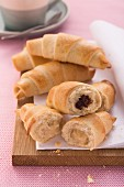 Croissants filled with chocolate and marzipan