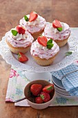 Cupcakes with strawberry mascarpone cream