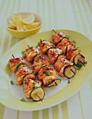 Prawn skewers with zucchini