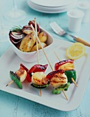 Grilled mussel kebabs with peppers