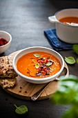 Tomato and paprika soup with olive oil and bread