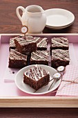 Walnut and chocolate brownies with white chocolate