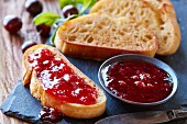 Cherry jam with toasted bread