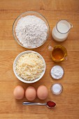 Ingredients for emmental muffins with buttermilk