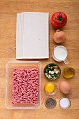 Ingredients for puff pastry parcels filled with mince