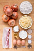 Ingredients for onion cake with bacon