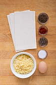 Ingredients for cheese squares with caraway