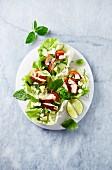Salatschiffchen gefüllt mit Hühnerbrust, Gurke, Avocado, Feta und Kräutern