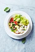 Gemischter Salat mit Tomaten, Avocado, Kopfsalat, Feta und Kräutern