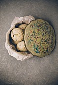 Almond macaroons in a vintage biscuit tin (top view)
