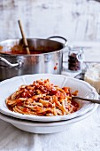 Spaghetti alla Amatriciana (pasta with tomato and bacon sauce)
