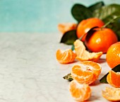 Fresh clementines with leaves on blue background
