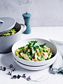 Pasta with kale, broad beans and broccoli