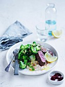 Sumac lamb with broccoli tabbouleh