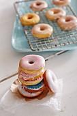 Mini doughnuts with colourful decorations