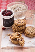 Oatmeal cookies with dried cranberries