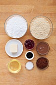Ingredients for making colourful macarons