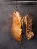 Bacon in a smokehouse