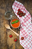 Tomato soup in a glass jar