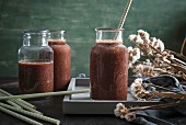 Sour cherry, banana and broccoli smoothies
