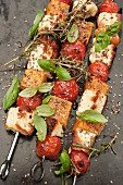 Grilled vegetable skewers with pumpkin, tomato, feta and herbs