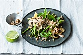 Quinoa and shiitake salad with Thai asparagus