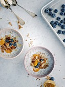 Chia berry bowl with coconut milk and granola
