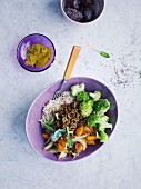Curried minced beef bowl with carrot relish