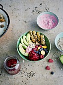 Mushroom bowl with avocado, berries and falafel sticks