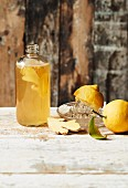 Homemade Kombucha tea with lemon and ginger