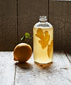 Homemade Kombucha tea with lemon and ginger in a bottle