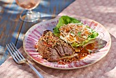 Grilled rumpsteak with a Thai style salad