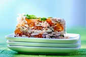 A summer terrine with apricots, rabbit and veal