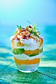 Apricot layered dessert with tapioca and coconut cream