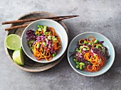 Vegan red cabbage and carrot salad with edamame