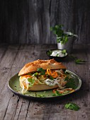 Vegetarian Banh Mi with preserved vegetable noodles (Vietnam)