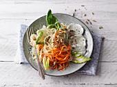 Kohlrabi and carrot noodle salad