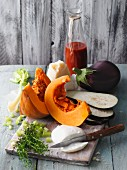 Ingredients for vegetarian pumpkin and aubergine lasagne