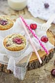 Vegan muffins with cherries