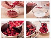Preparing red fruit jelly