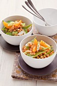 Lentil salad with apricots and sugar snap peas