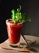 Bloody Mary in a glass with a salted rim