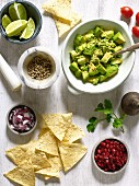 Guacamole with tortilla crisps and other ingredients (Mexico)