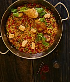 Paella in a pan (top view)