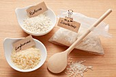 Long grain rice, risotto rice and quick cook rice in a bag