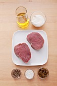 Ingredients for filet steaks with green pepper sauce