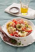 Tortellini salad with ham