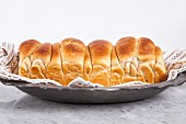 Milk bread rolls in the shape of a loaf