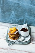 Banana pancakes made from lupin flour with mocha sauce