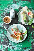 Summer rolls filled with raw vegetables and lupin dip